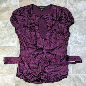 Bebe Silk Blouse Button Down XS